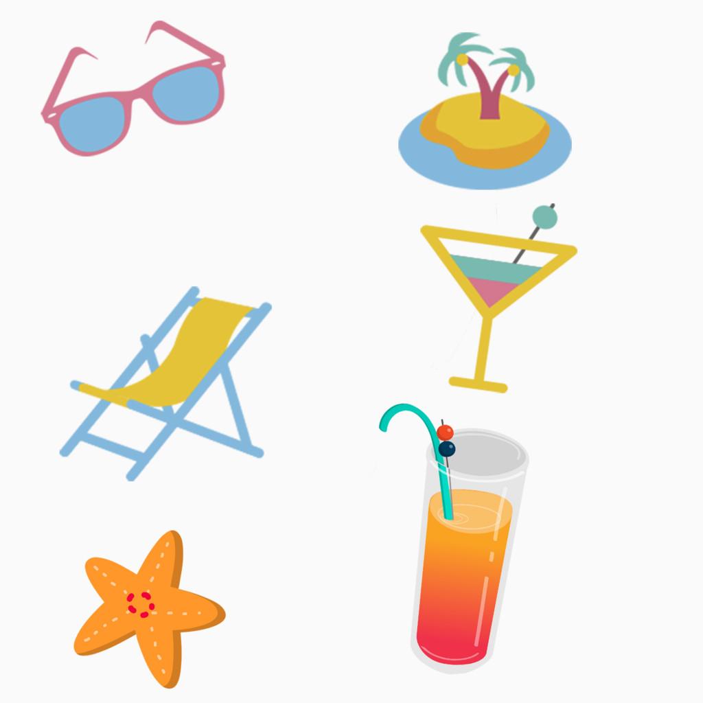 太阳镜沙滩沙滩椅果汁夏日卡通手绘装饰元素