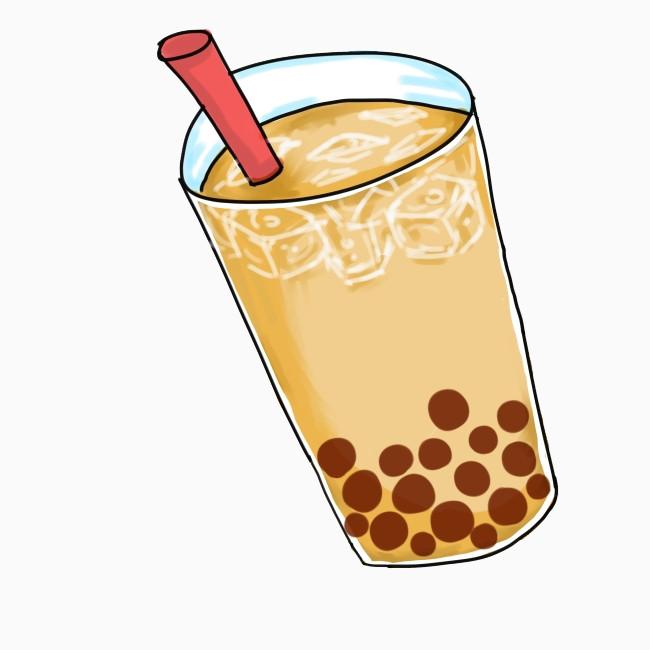 卡通手绘珍珠奶茶元素