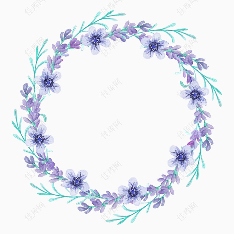 紫色蓝色花环