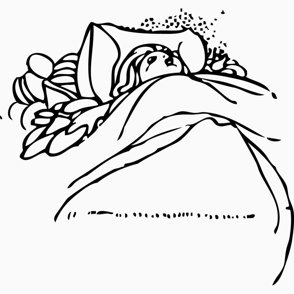 手绘睡觉的人