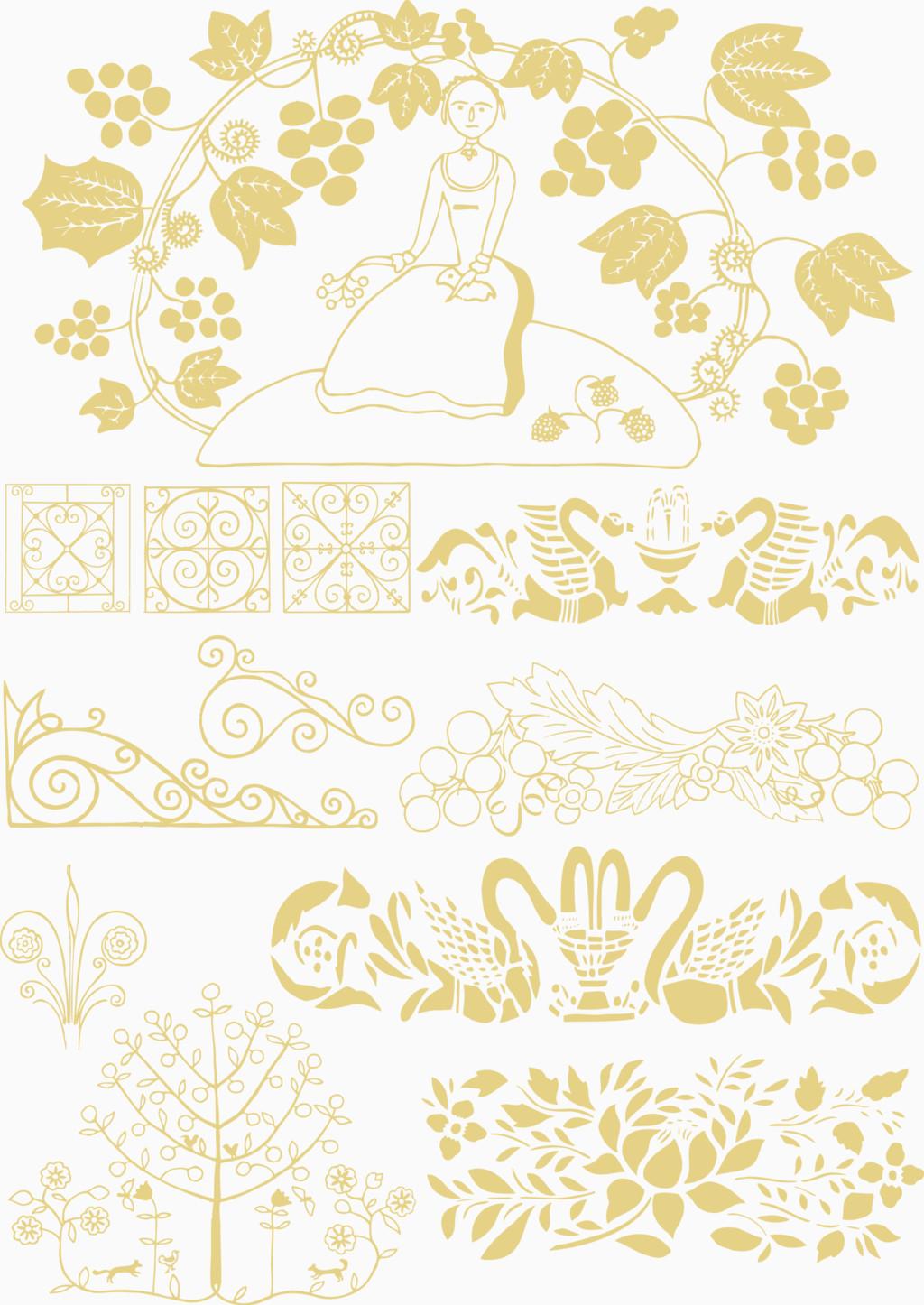 黄色精美欧美复古边框矢量图