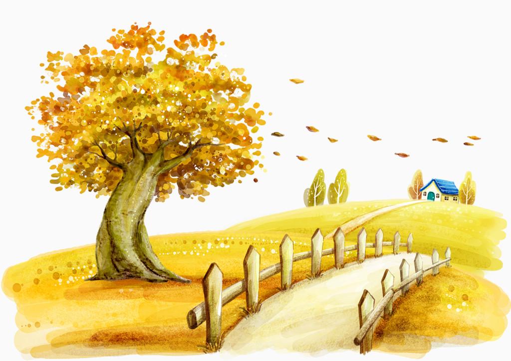 卡通秋天树叶道路