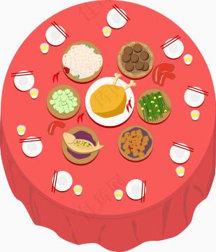 卡通手绘团圆饭桌子