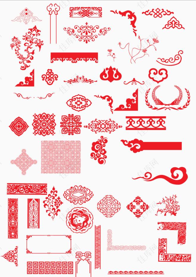 红色花纹边框复古边框直角边框吉祥边框新年