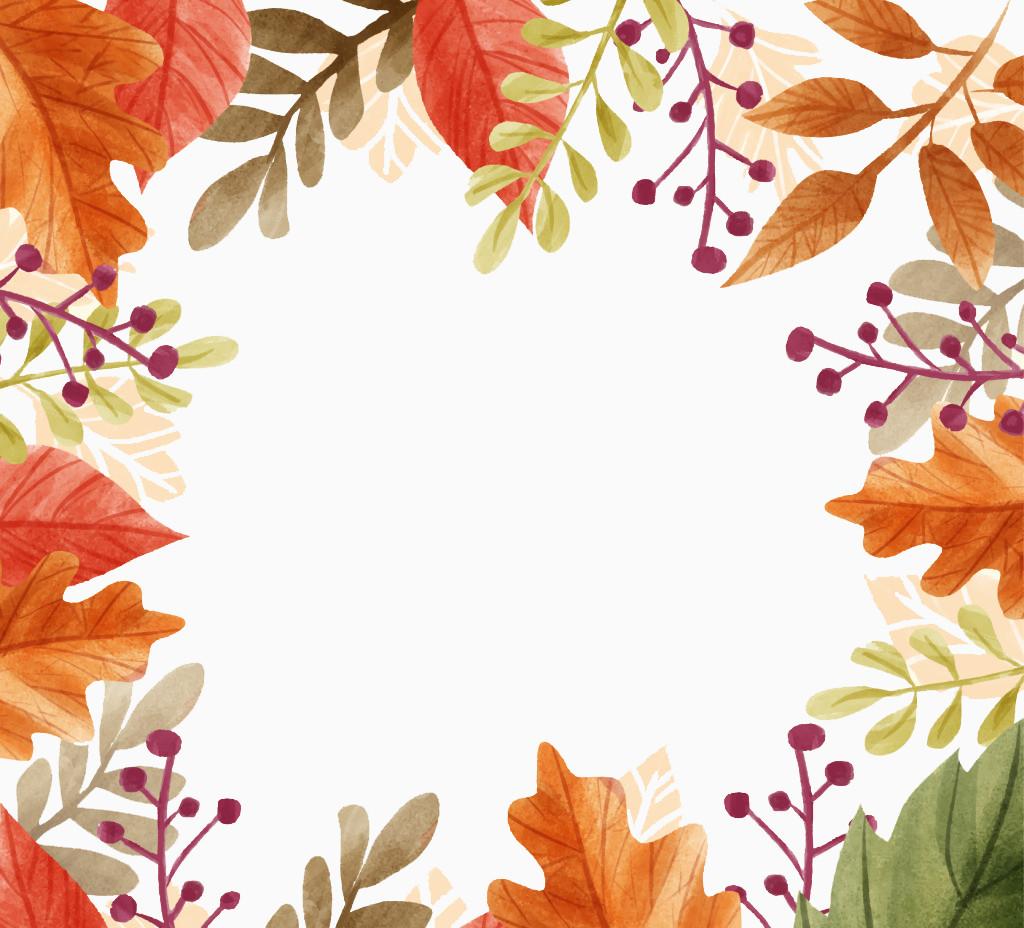 美丽的秋天落叶边框