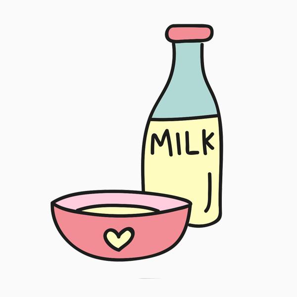 卡通牛奶和碗
