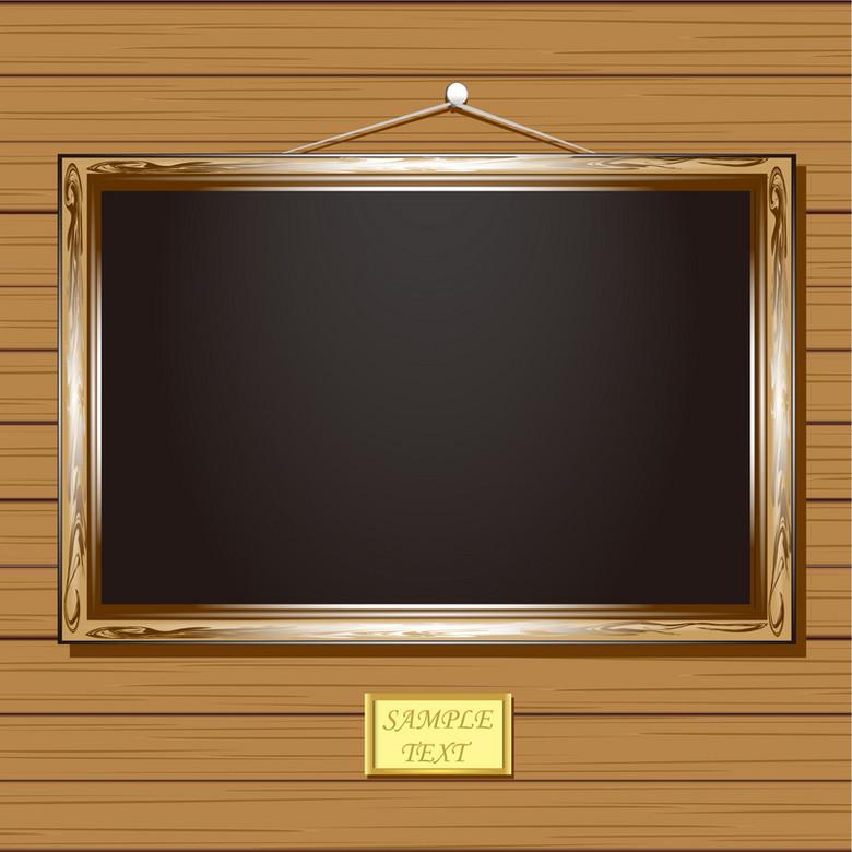 褐色相框木纹背景素材