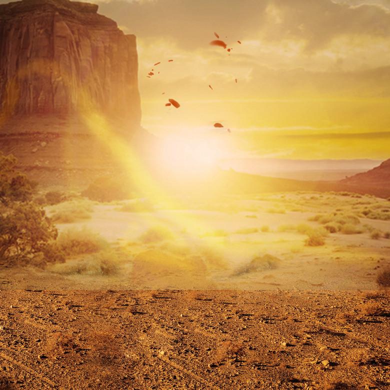 夕阳戈壁滩户外运动产品PSD分层主图背景