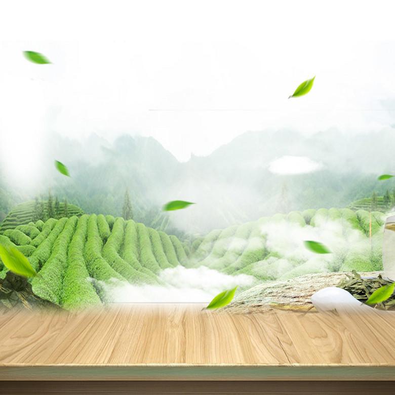 简约茶园茶叶木板PSD分层主图背景素材