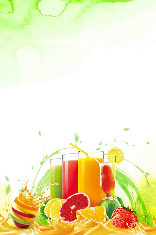 鲜果奶茶甜品冷饮店海报背景素材