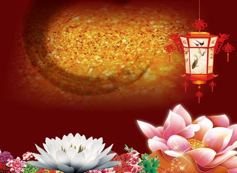 中国风黄金满满下的白莲花背景素材