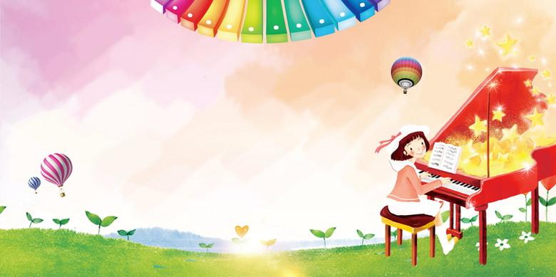 音乐梦想钢琴培训背景模板