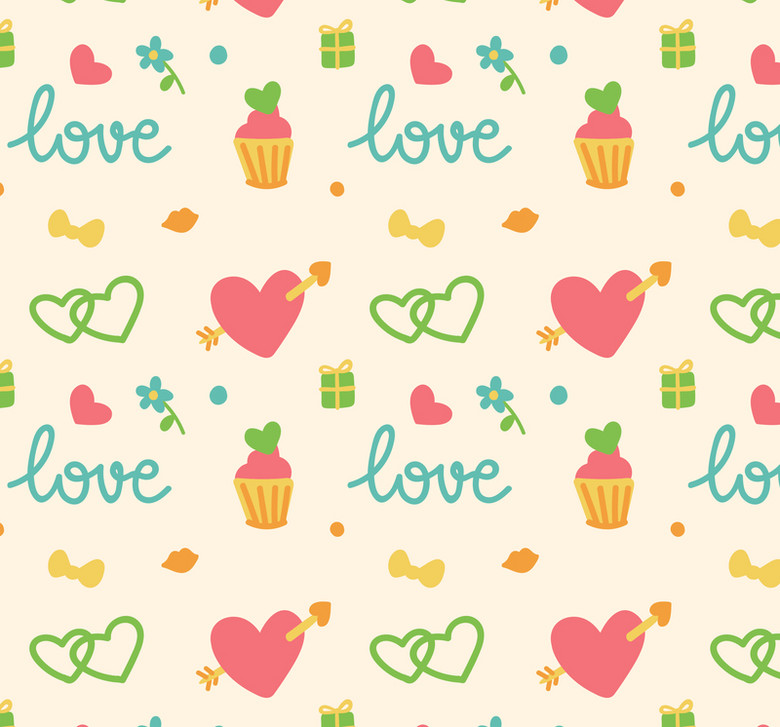 可爱爱心和蛋糕无缝背景素材