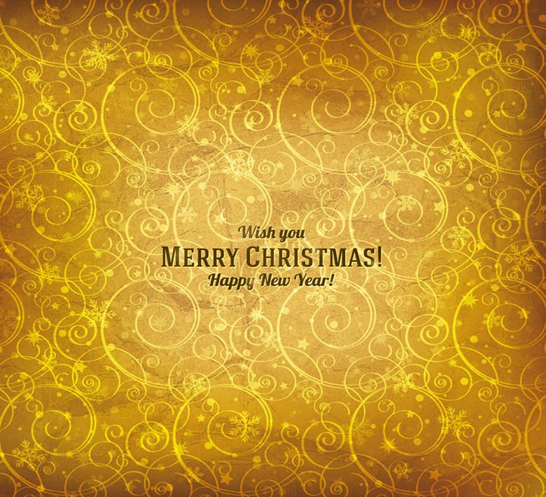 金色花纹圣诞贺卡图