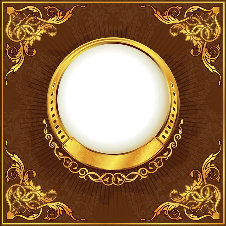 金色圆形花纹褐色背景