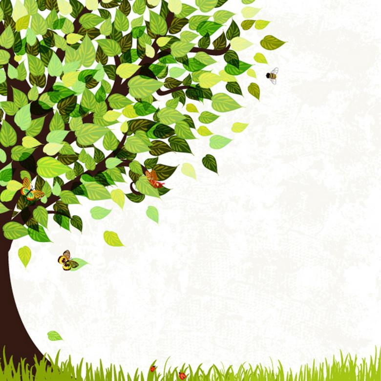 绿树植树节海报背景素材