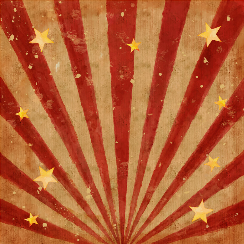 手绘红黄条纹星形背景