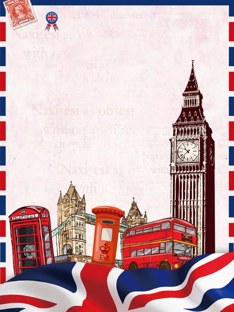 英国伦敦旅游促销海报背景