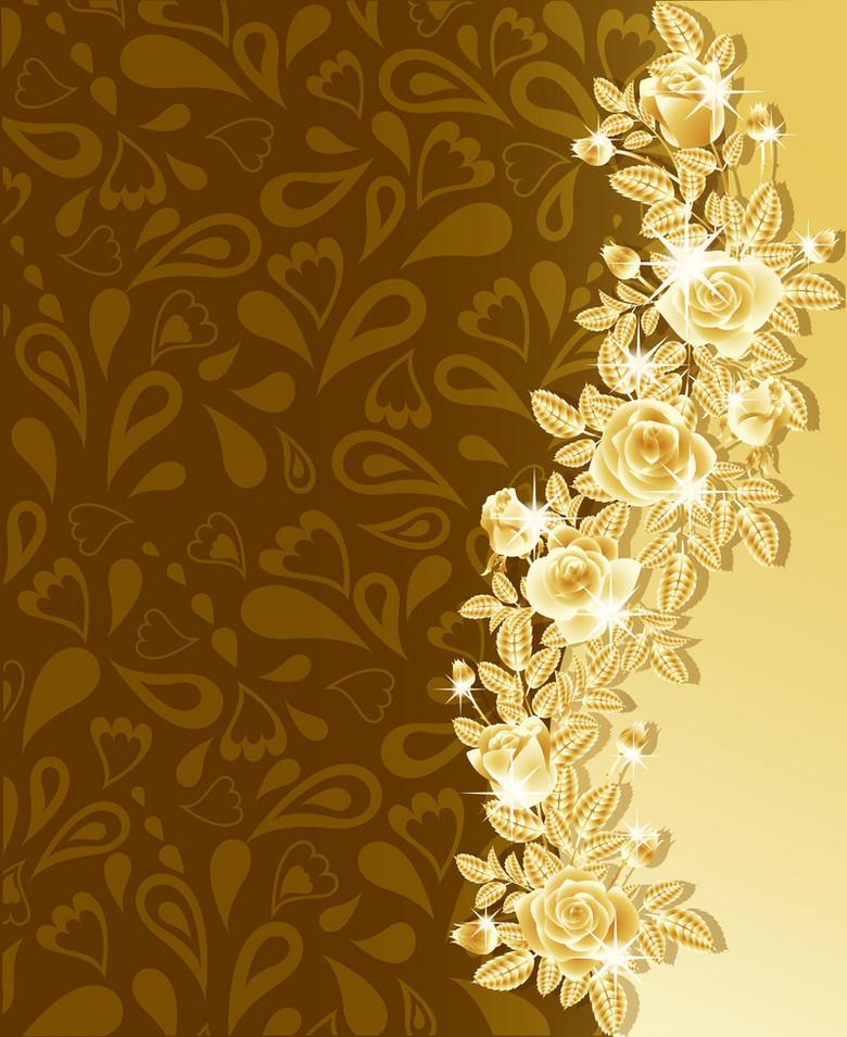 金色金属质感花朵背景素材