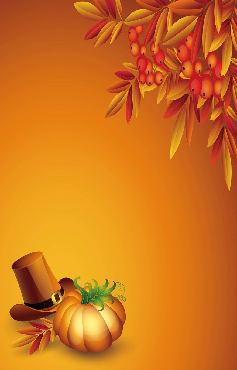 橘黄色树叶下的南瓜和帽子背景素材