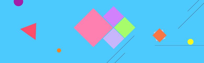 蓝色几何色块方块三角线banner