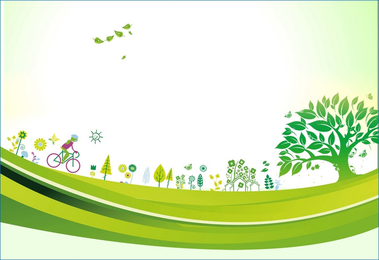 绿色大树剪影植树节海报背景模板