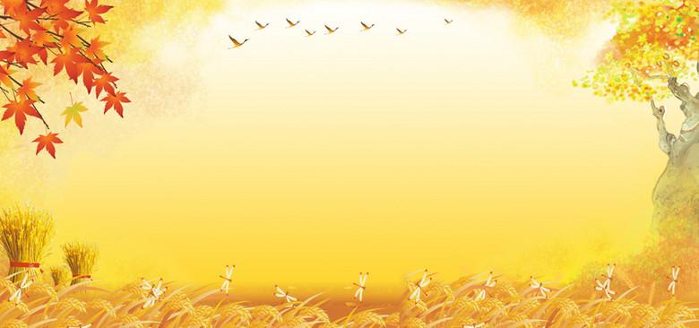 金黄色麦地大尺寸banner背景