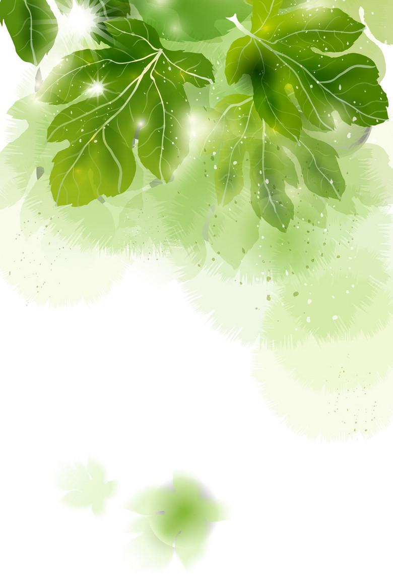 春天绿叶底纹背景背
