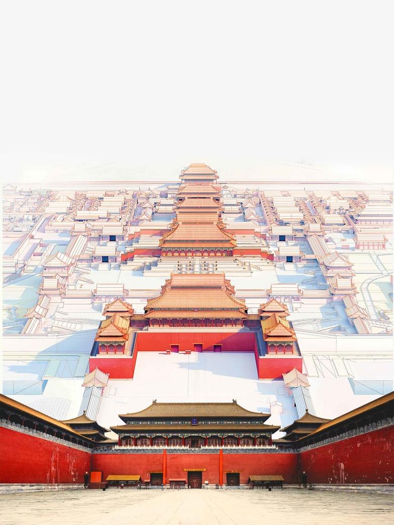北京故宫旅行海报背景模板