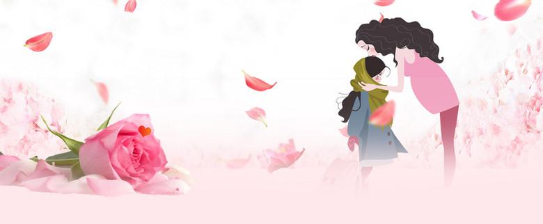 玫瑰母亲节温馨粉色花瓣手绘背景