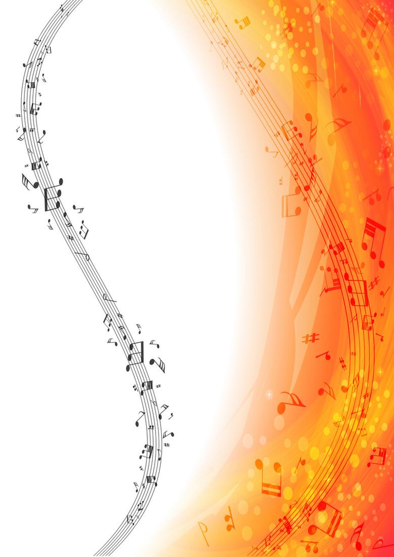 梦幻黄色线条音符音乐背景