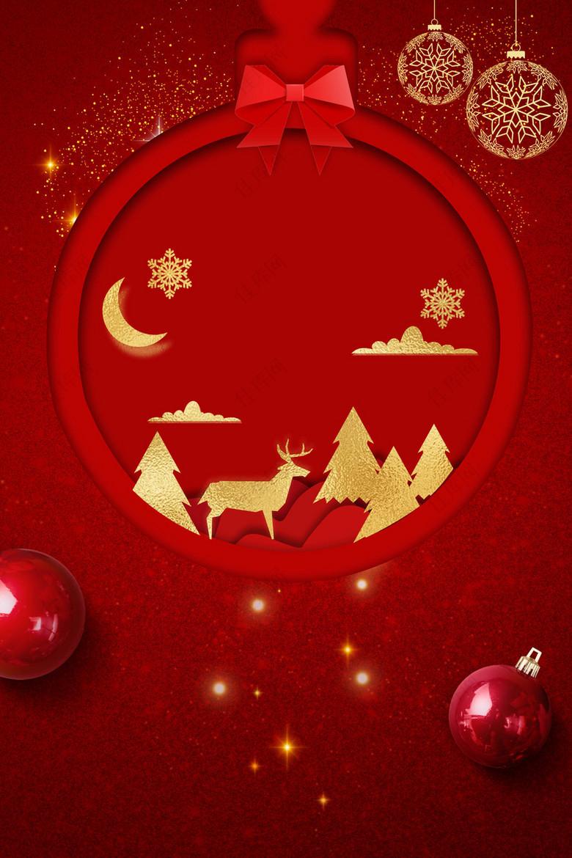 圣诞节红色平安夜贺卡背景