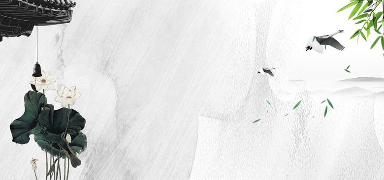 中国风荷花荷叶纹理黑白经典背景