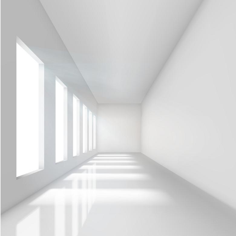 3D白色室内走廊背景