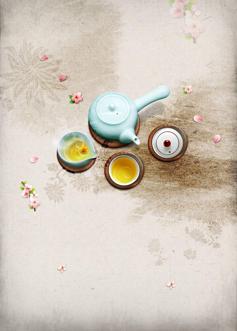 中国风意境舌尖上的花茶海报背景素材