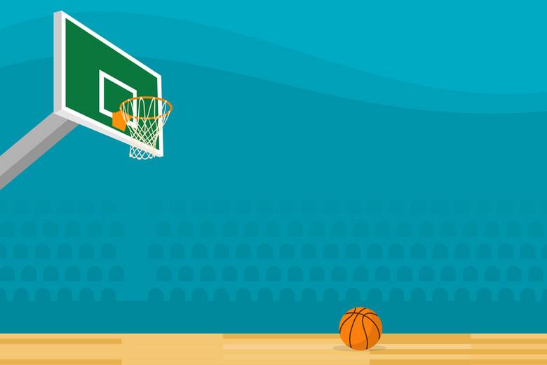 卡通手绘篮球球场激情球赛背景素材