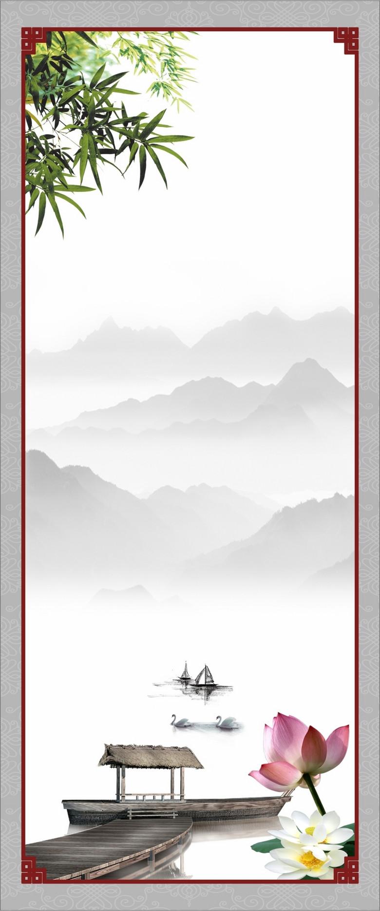 中国风船只背景
