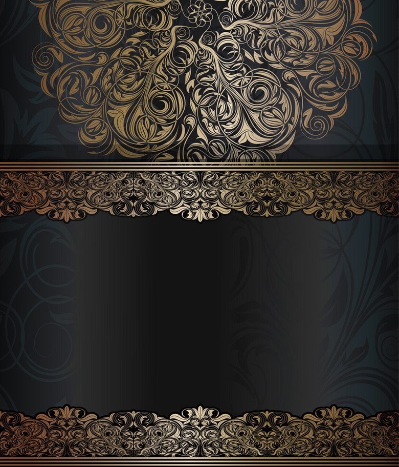 黑底金色花纹商业简约背景