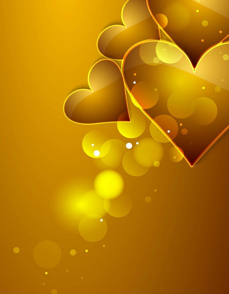 大气质感金色爱心520情人节背景