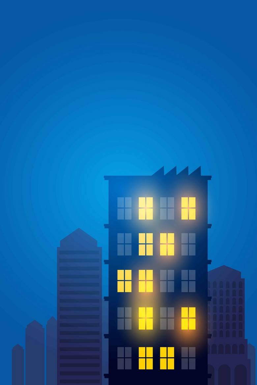 夜晚城市黑色红色蓝色炫彩扁平化简约背景