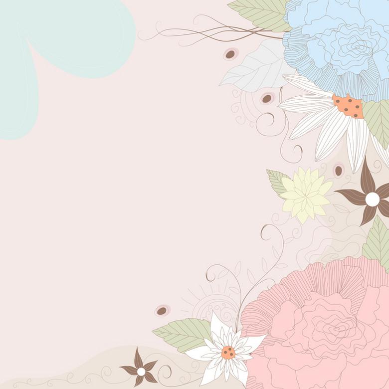 文艺小清新粉色花纹背景素材