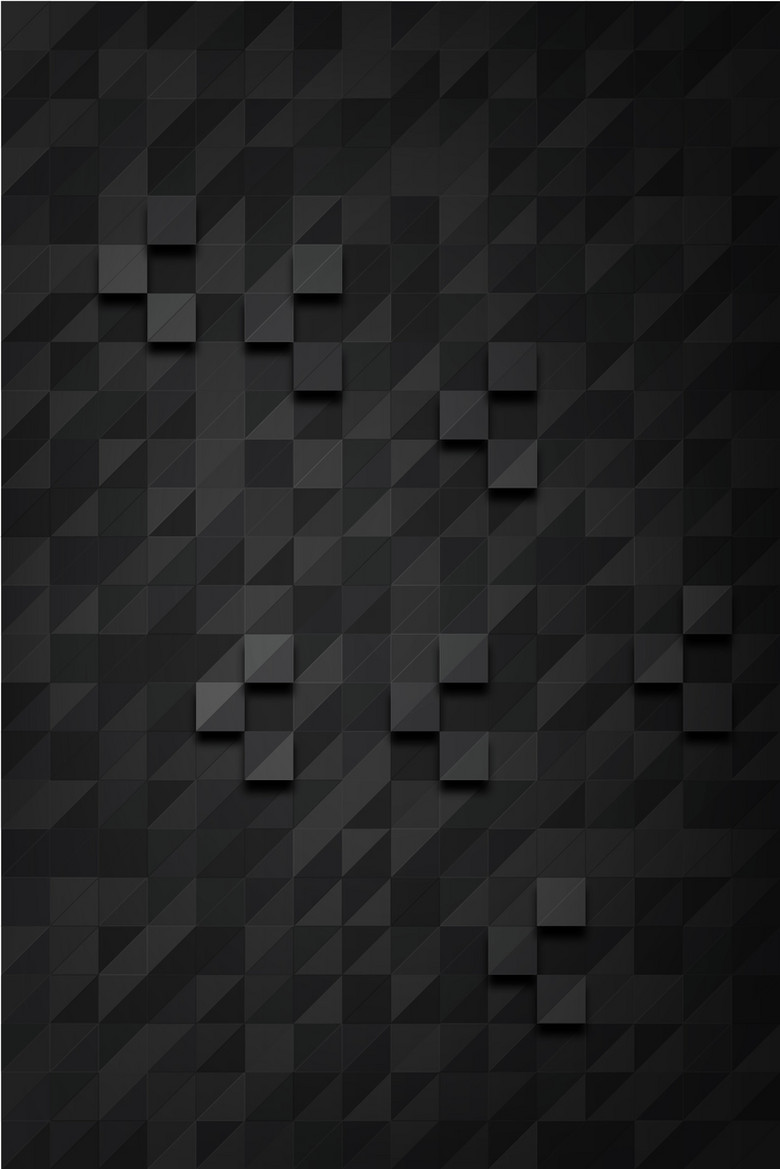 矢量黑色质感方块凹凸几何拼接背景