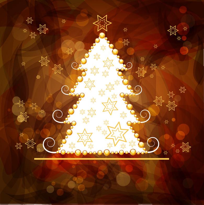 棕色橙色圣诞树装饰圣诞海报背景