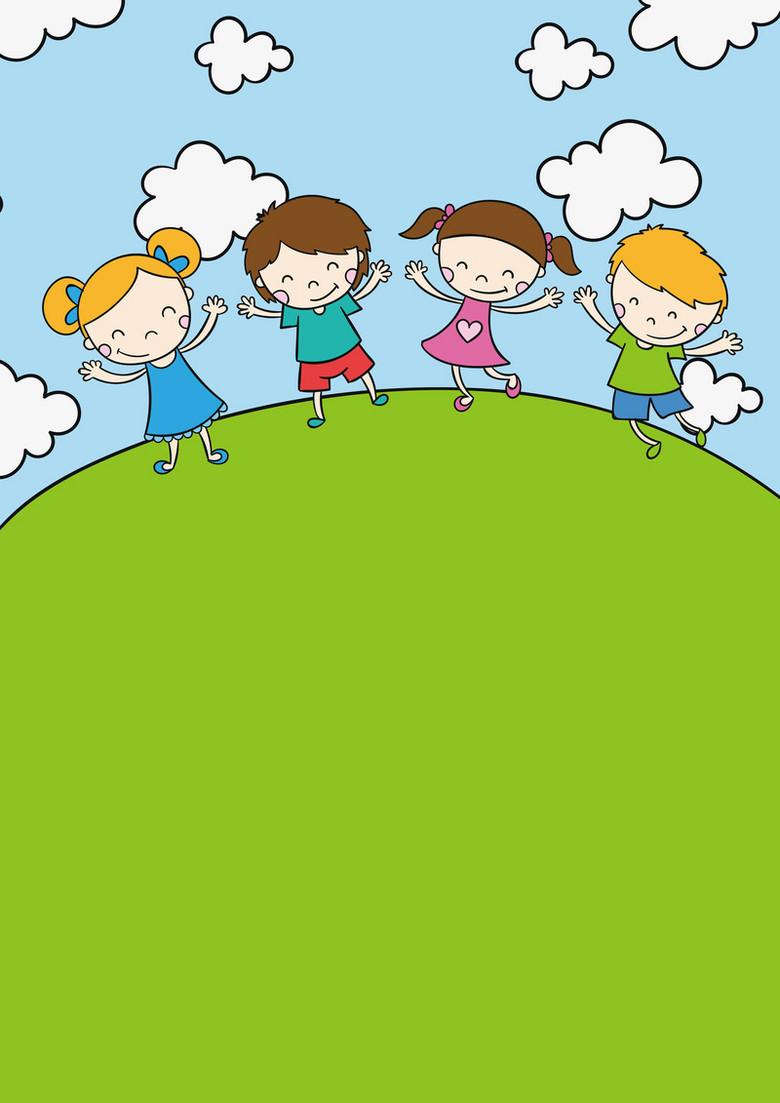 六一儿童节卡通手绘小孩背景素材