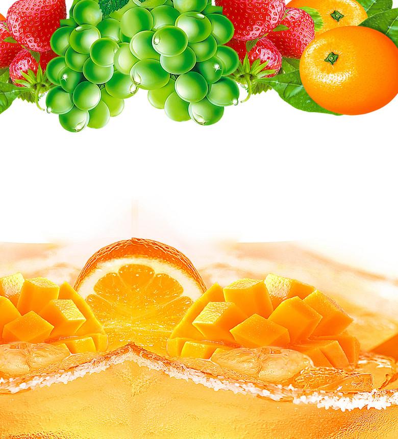 清新水果鲜橙海报背景模板