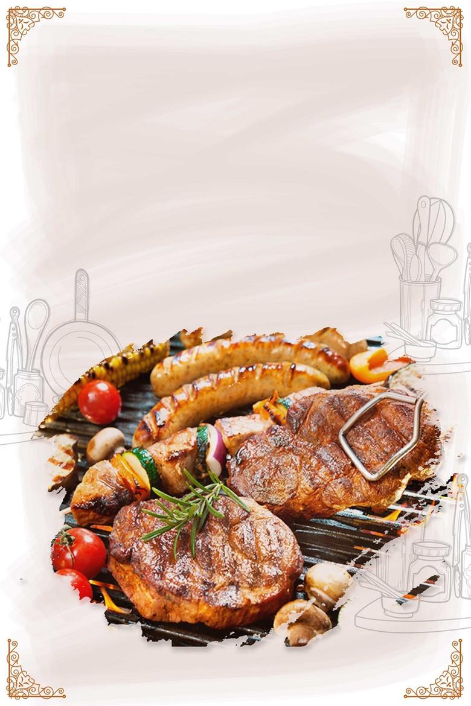 中华美食特色烤肉背景