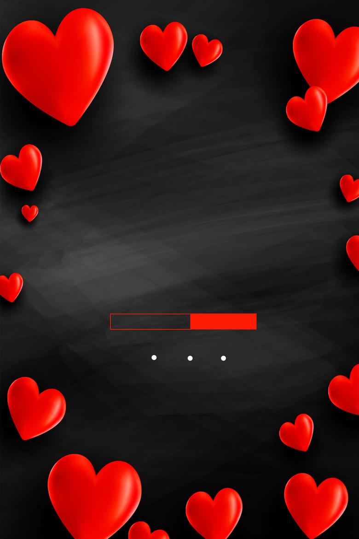清新简约爱心情人节平面广告