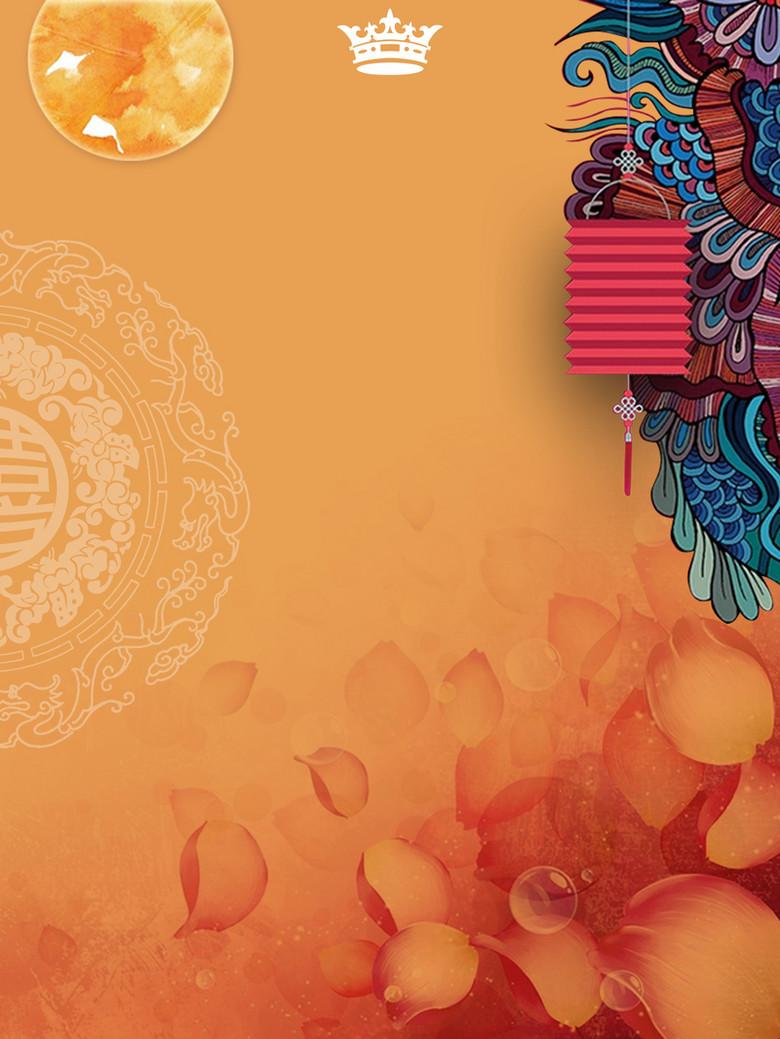 中国风中式图案与花卉背景素材