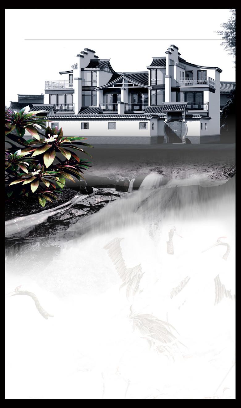 房地产中式别墅背景素材