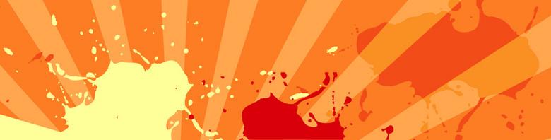 橘色喷墨扁平背景
